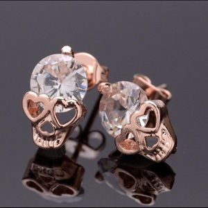 Jewelry - Skully Earrings, Rose Gold